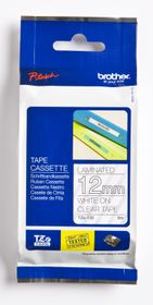 Brother TZ-135 12mm x 8m White on Clear Laminated Tape