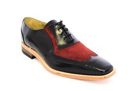 Crockett & Jones Men's Two Tone Lace Up Shoe  - Black & Red