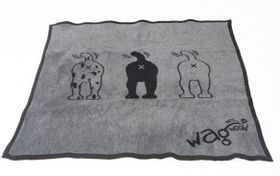 Wagworld - Extra-Large Plush Blankie - Grey & Black