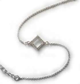 Miss Jewels- 0.10ct Clear Cubic Zirconia Square Charm 925 Sterling Silver Bracelet
