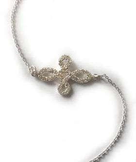 Miss Jewels- 0.21ct Clear Cubic Zirconia Cross Over Charm 925 Sterling Silver Bracelet