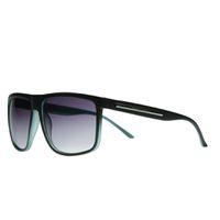 "Lentes & Marcos ""Canal"" UV400 Black & Green Flat-Top Sunglasses"
