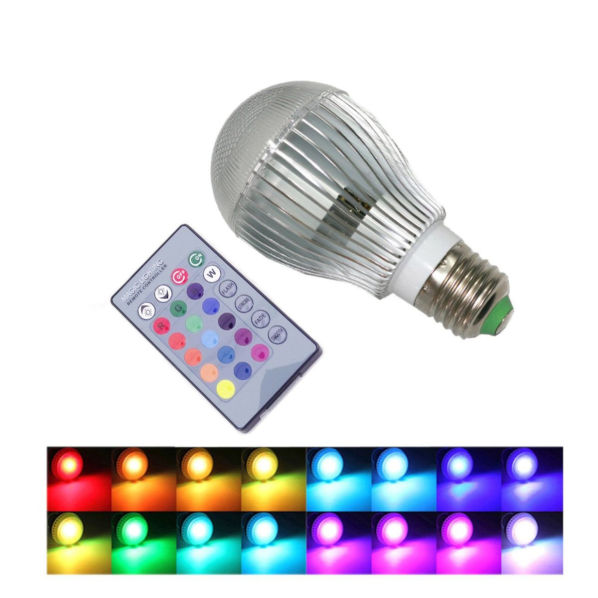 9W E27 16 Color Changing RGB LED Light Bulbs With Remote Control 100 240V  ...