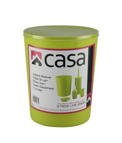 Casa - 5 Piece Plastic Bathroom Set - Lime Green