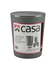Casa - 5 Piece Plastic Bathroom Set - Cool Grey