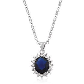 Miss Jewels 5.80ct Blue and Clear Royal Pendant and Necklace