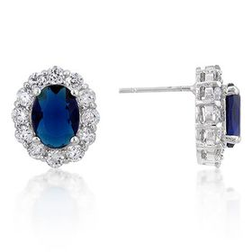 Miss Jewels 3.22ctw Royal Blue and Clear Cubic Zirconia Stud Earrings