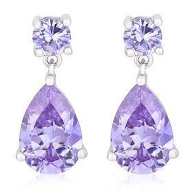 Miss Jewels 7.00ctw Purple Cubic Zirconia Costume Drop Earrings