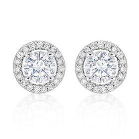 Miss Jewels 0.64ctw Clear Cubic Zirconia Stud Earrings