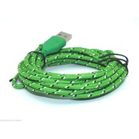 1 Meter Iphone 5 Usb Braided Cable-Green
