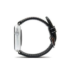 SLG Design D6 Italian Minerva Box Leather Strap for Apple Watch 38mm  -  Black