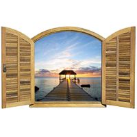 Shutter Window Mauritius Pier Scene Wallpaper Mural