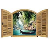Shutter Window Thailand Scene Wallpaper Mural