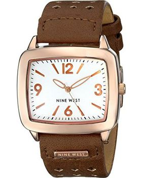 Nine West Women's NW/1080SVBN Rose Gold-Tone Brown Perforated Strap Watch (Parallel Import)