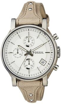 Fossil Women's ES3625 Original Boyfriend Chronograph Stainless Steel Watch with Beige Leather Band (Parallel Import)