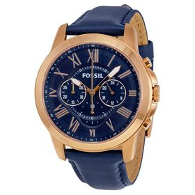 Fossil Men's FS4835 Grant Chronograph Leather Watch - Rose Gold-Tone and Blue (Parallel Import)