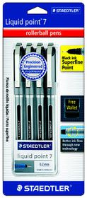 Staedtler Liquid Point Superfine 0.3mm Rollerball Pens - Blister of 4 Black Ink