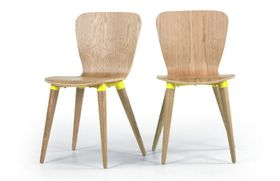 Made.Com - 2 x Edelweiss Dining Chairs - Ash & Yellow