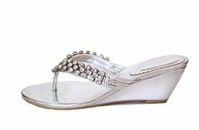 Chunky Diamante Evening Wedge - Silver