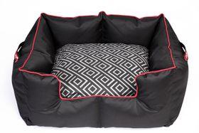 Wagworld - Large K9 Castle Dog Bed - Geo Black & Red
