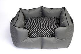 Wagworld - Extra-Large K9 Castle Dog Bed - Geo Grey & Black