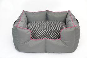 Wagworld - Extra-Large K9 Castle Dog Bed - Geo Grey & Pink