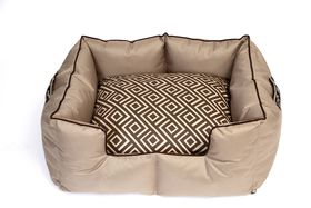 Wagworld - Large K9 Castle Dog Bed - Geo Camel & Chocolate