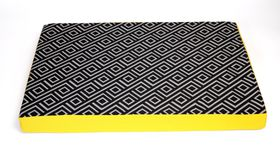 Wagworld - Extra-Large Lazy Lounger Dog Bed - Geo Charcoal & Yellow