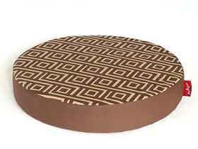 Wagworld - Round Lazy Lounger Dog Bed - Geo Camel & Chocolate