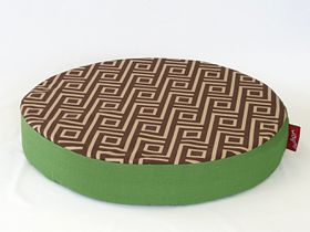 Wagworld - Round Lazy Lounger Dog Bed - Geo Camel & Green