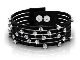 Destiny Twinkling Bit Bracelet with Swarovski Crystals - Black