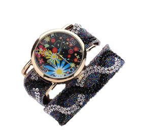 Baroque Rhinestone Inspired Wrap Watch - Black