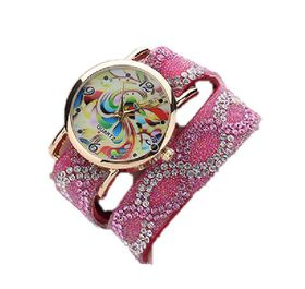 Baroque Rhinestone Inspired Wrap Watch - Pink