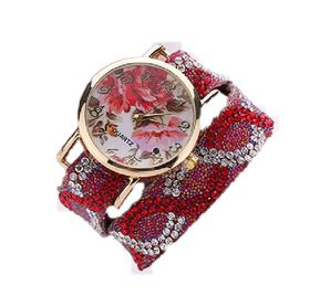 Baroque Rhinestone Inspired Wrap Watch - Red