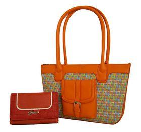 Fino Woven And Pu Trim Fashion Bag + Pu / Crocodile Trim Purse Value Pack - Orange (SK479 / FD-AK + 780-093)