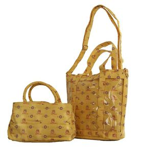 Fino 3 In 1 Printed Canvas Bag Travel Set - Yellow (8875 + 8862 / FY)