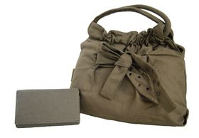 Fino Canvas Fashion Bag With Bow Detail + Canvas Purse Set - Green (8884 / EY + 99902)