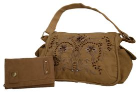 Fino Suede Embrioded Fashion Bag + Suede PU Leather Purse Value Set - Camel (T5-307 + 811-093)
