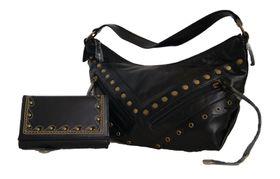 Soft Pu Studded Handbag+Studded Embroided Pu Purse Set Sk20042/pu+M5-093