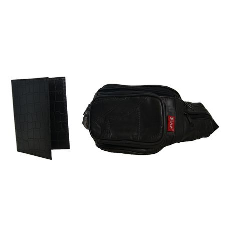 65e63a752bc Fino 5 Pocket Patch Leather Waist Bag + Pu Leather Passport Cover - Black ( SK
