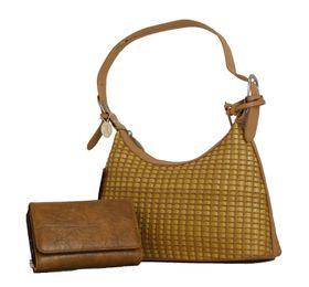 Fino Bamboo Woven Fashion Bag + Pebbled  Ladies Purse - Camel (SK 483 / ER-AK + 1260 / 093
