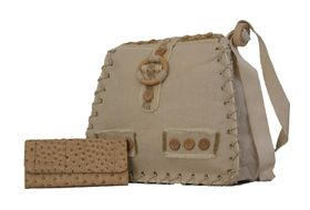 Fino Linen Crossbody / Sling Bag + Ostrich Leather Purse Value Set - Beige (LB006 + A67 / 765)