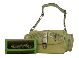 Fino Canvas Shoulder Cross Body Handbag + Patent Leaf Printed Purse Value Pack - Green (A2437 / EY + 608-093)