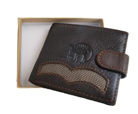 Fino Genuine Leather Wallet with Sim Card Holder (DWS-8702) - Brown