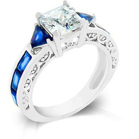 Miss Jewels - Clear and Blue Cubic Zirconia Costume Engagement Style Ring