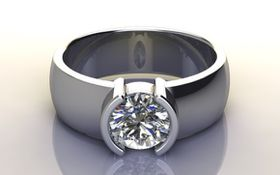 Miss Jewels - CD Designer Jewellery 1.00ctw Sparkling CZ Broad Band Promise Ring in 925 Sterling Silver