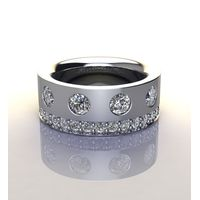 Miss Jewels - CD Designer Jewellery 1.30ctw 13.3grams, Solid 925 Sterling Silver Wedding Band