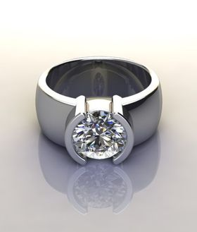 Miss Jewels - CD Designer Jewellery 2.4ctw Sparkling CZ Broad Band Promise Ring in 925 Sterling