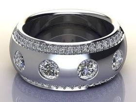 Miss Jewels - CD Designer Jewellery 1.21ctw 13 grams Solid 925 Sterling Silver Wedding Band