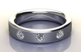 Miss Jewels - CD Designer Jewellery 0.30ctw 6.8 grams Wedding Band in 925 Sterling Silver